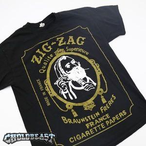VTG Y2K Zig Zag 420 weed marajuana Promo Shirt 90s